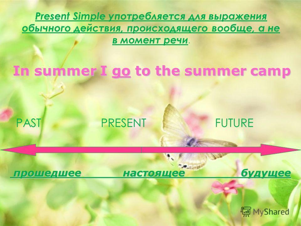 Present Simple употребляется для выражения обычного действия, происходящего вообще, а не в момент речи. PAST PRESENT FUTURE In summer I go to the summer camp прошедшее настоящее будущее прошедшее настоящее будущее