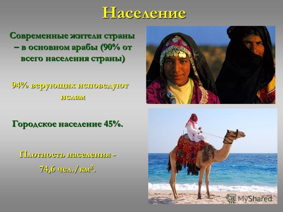 Население Современные жители страны – в основном арабы (90% от всего населения страны) Современные жители страны – в основном арабы (90% от всего населения страны) 94% верующих исповедуют ислам 94% верующих исповедуют ислам Городское население 45%. П