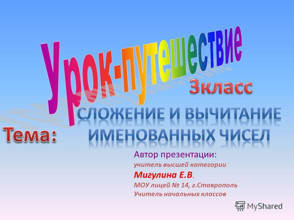Автор презентации: учитель высшей категории Мигулина Е.В. МОУ лицей 14, г.Ставрополь Учитель начальных классов