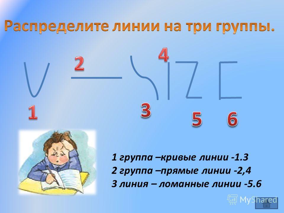 1 группа –кривые линии -1.3 2 группа –прямые линии -2,4 3 линия – ломанные линии -5.6