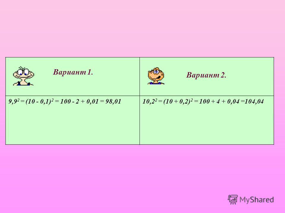 Вариант 1. Вариант 2. 9,9 2 = (10 - 0,1) 2 = 100 - 2 + 0,01 = 98,0110,2 2 = (10 + 0,2) 2 = 100 + 4 + 0,04 =104,04