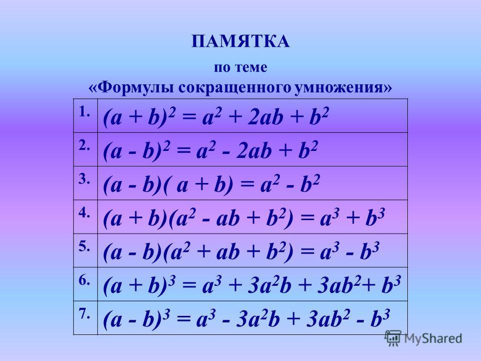 ПАМЯТКА по теме «Формулы сокращенного умножения» 1. (a + b) 2 = a 2 + 2ab + b 2 2. (a - b) 2 = a 2 - 2ab + b 2 3. (a - b)( a + b) = a 2 - b 2 4. (a + b)(a 2 - ab + b 2 ) = a 3 + b 3 5. (a - b)(a 2 + ab + b 2 ) = a 3 - b 3 6. (a + b) 3 = a 3 + 3a 2 b