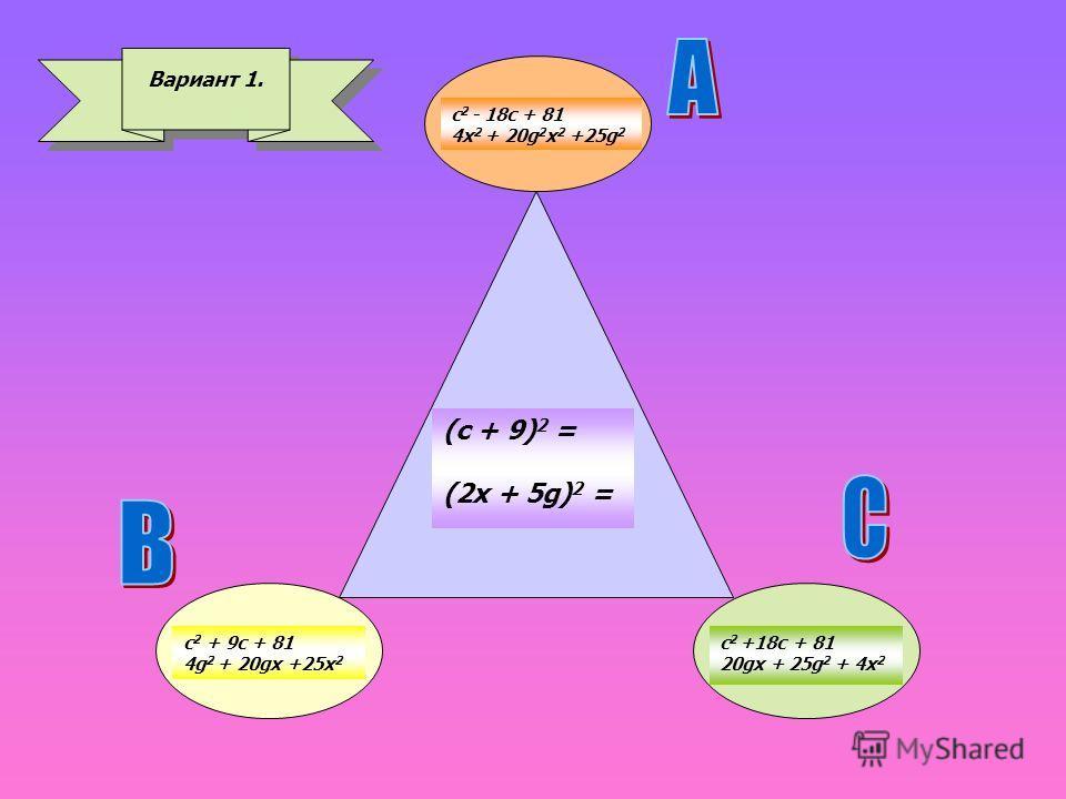Вариант 1. c 2 - 18c + 81 4x 2 + 20g 2 x 2 +25g 2 (с + 9) 2 = (2x + 5g) 2 = c 2 +18c + 81 20gx + 25g 2 + 4x 2 с 2 + 9 с + 81 4g 2 + 20gx +25x 2