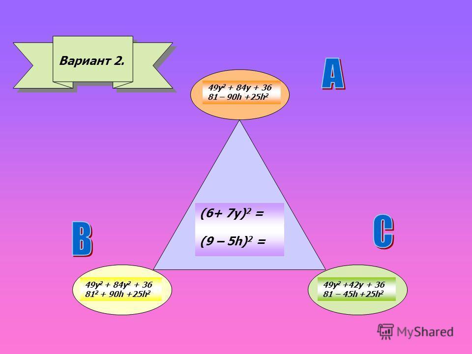 Вариант 2. (6+ 7 у) 2 = (9 – 5h) 2 = 49y 2 + 84y 2 + 36 81 2 + 90h +25h 2 49y 2 + 84y + 36 81 – 90h +25h 2 49y 2 +42y + 36 81 – 45h +25h 2