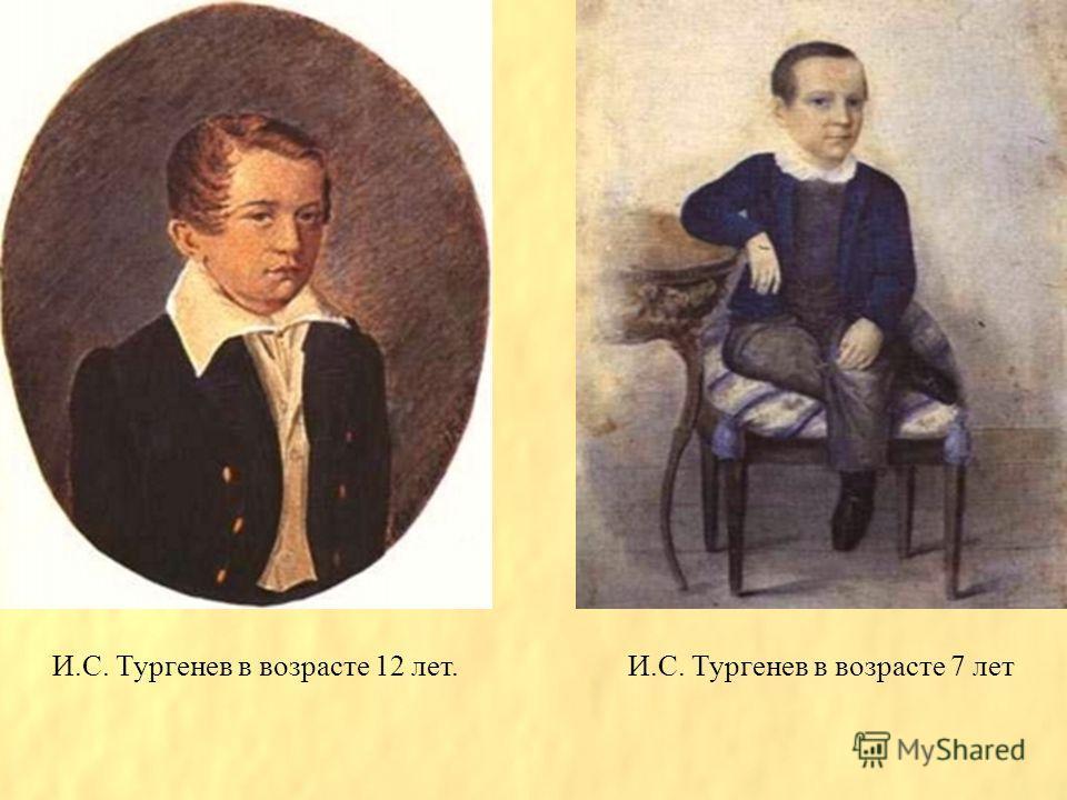 И.С. Тургенев в возрасте 12 лет.И.С. Тургенев в возрасте 7 лет