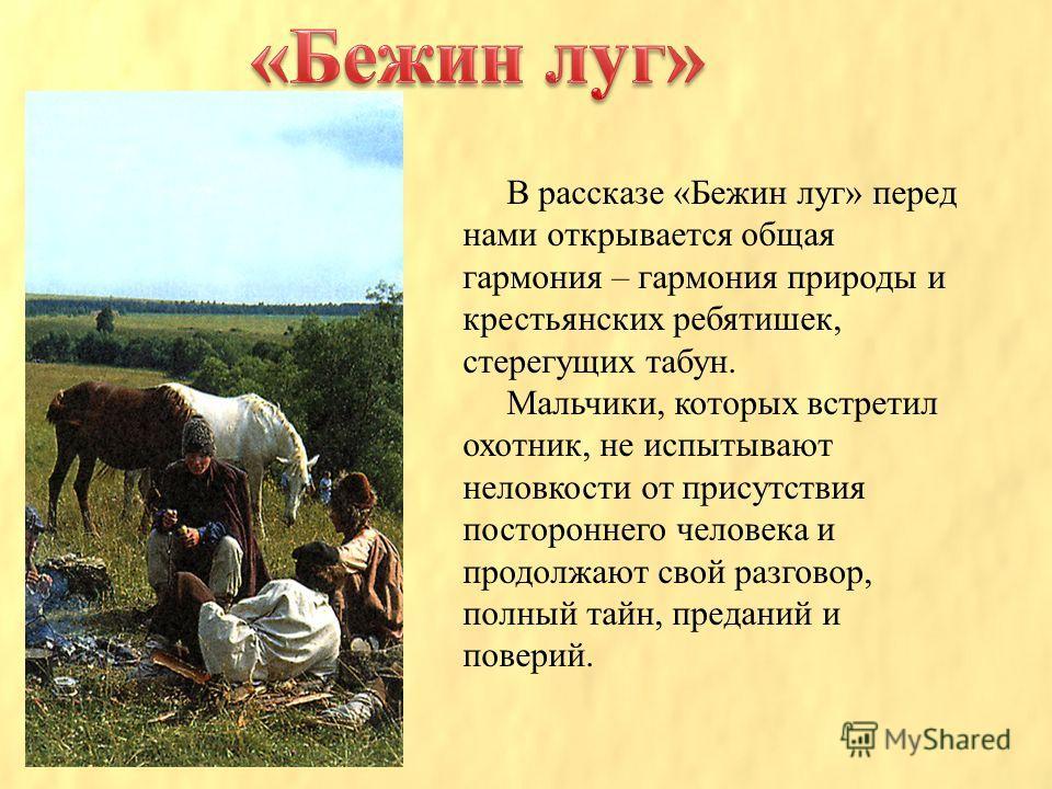 В рассказе «Бежин луг» перед нами открывается общая гармония – гармония природы и крестьянских ребятишек, стерегущих табун. Мальчики, которых встретил охотник, не испытывают неловкости от присутствия постороннего человека и продолжают свой разговор,