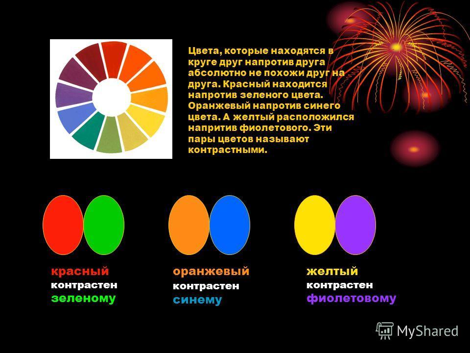 Цвета, которые находятся в круге друг напротив друга абсолютно не похожи друг на друга. Красный находится напротив зеленого цвета. Оранжевый напротив синего цвета. А желтый расположился напритив фиолетового. Эти пары цветов называют контрастными. кра