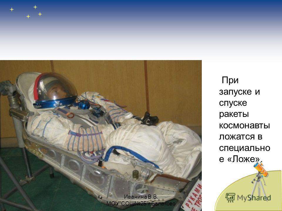 При запуске и спуске ракеты космонавты ложатся в специально е «Ложе». Иванина В.В. МОУСОШ25г.Балаково