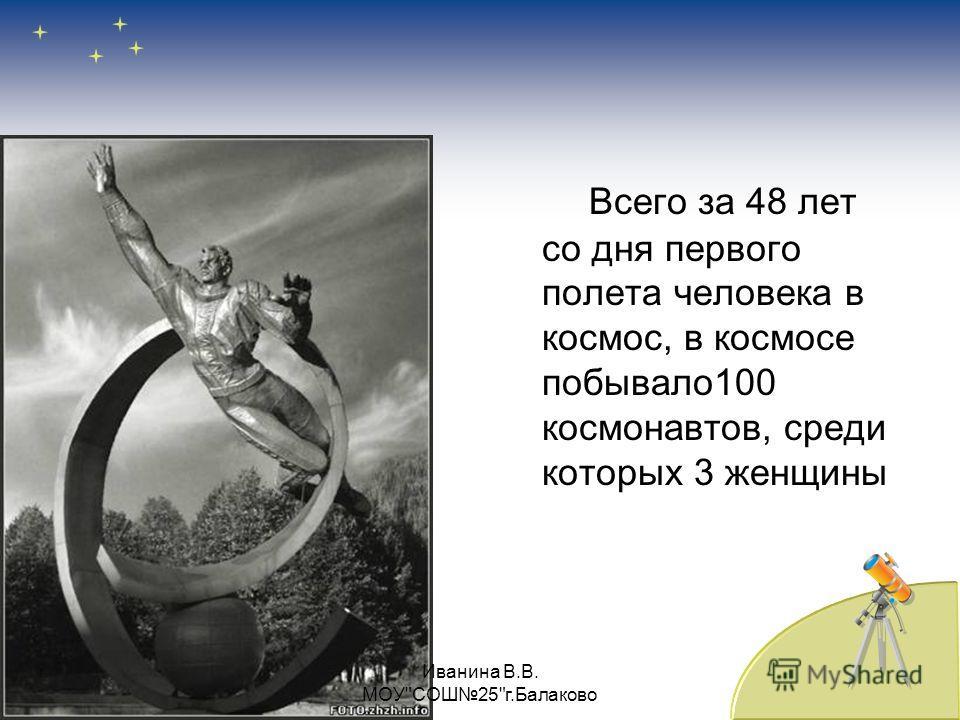 Всего за 48 лет со дня первого полета человека в космос, в космосе побывало 100 космонавтов, среди которых 3 женщины Иванина В.В. МОУСОШ25г.Балаково