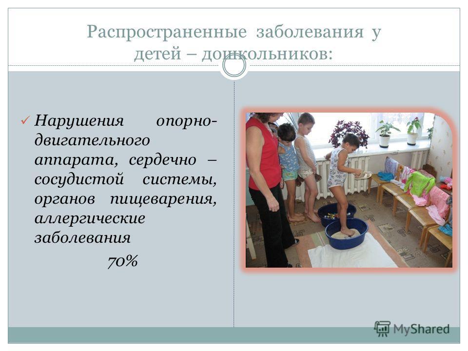 Распространенные заболевания у детей – дошкольников: Нарушения опорно- двигательного аппарата, сердечно – сосудистой системы, органов пищеварения, аллергические заболевания 70%