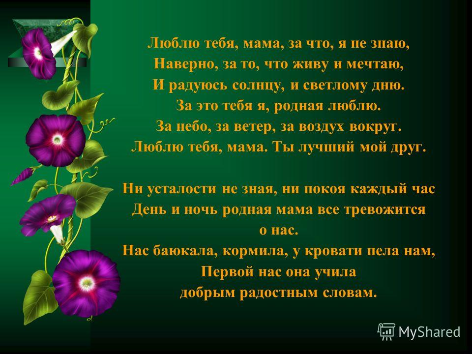 Люблю тебя, мама, за что, я не знаю, Наверно, за то, что живу и мечтаю, И радуюсь солнцу, и светлому дню. За это тебя я, родная люблю. За небо, за ветер, за воздух вокруг. Люблю тебя, мама. Ты лучший мой друг. Ни усталости не зная, ни покоя каждый ча