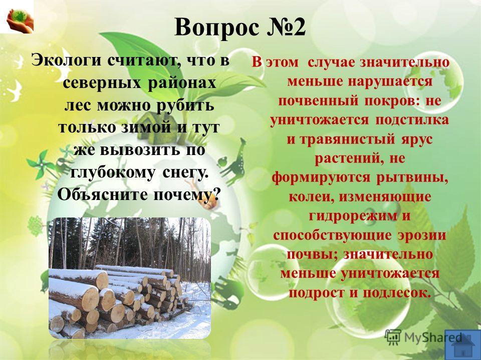 Вопрос 2 Экологи считают, что в северных районах лес можно рубить только зимой и тут же вывозить по глубокому снегу. Объясните почему? В этом случае значительно меньше нарушается почвенный покров: не уничтожается подстилка и травянистый ярус растений