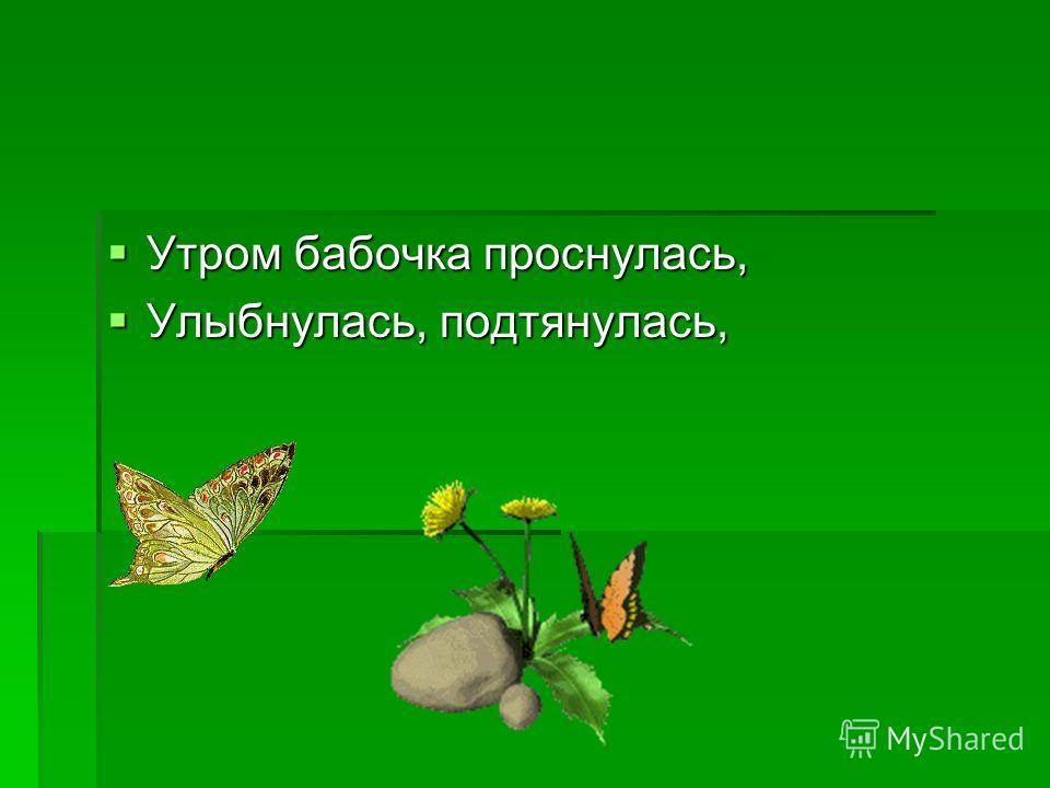 Утром бабочка проснулась, Утром бабочка проснулась, Улыбнулась, подтянулась, Улыбнулась, подтянулась,