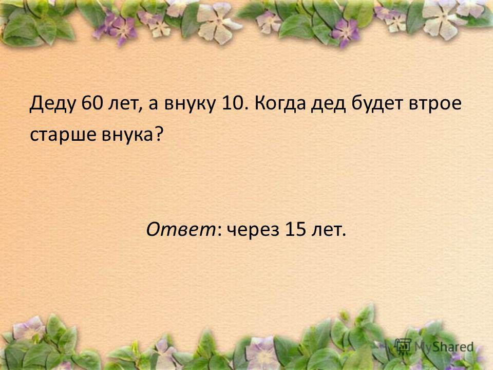 Деду 60 лет, а внуку 10. Когда дед будет втрое старше внука? Ответ: через 15 лет.