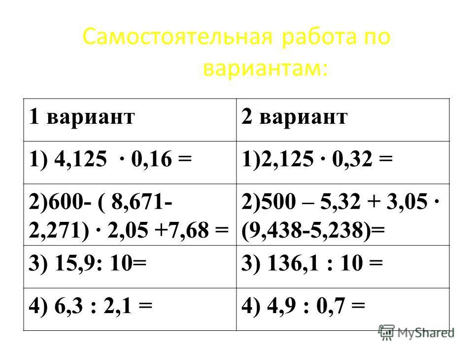 Самостоятельная работа по вариантам: 1 вариант 2 вариант 1) 4,125 · 0,16 =1)2,125 · 0,32 = 2)600- ( 8,671- 2,271) · 2,05 +7,68 = 2)500 – 5,32 + 3,05 · (9,438-5,238)= 3) 15,9: 10=3) 136,1 : 10 = 4) 6,3 : 2,1 =4) 4,9 : 0,7 =