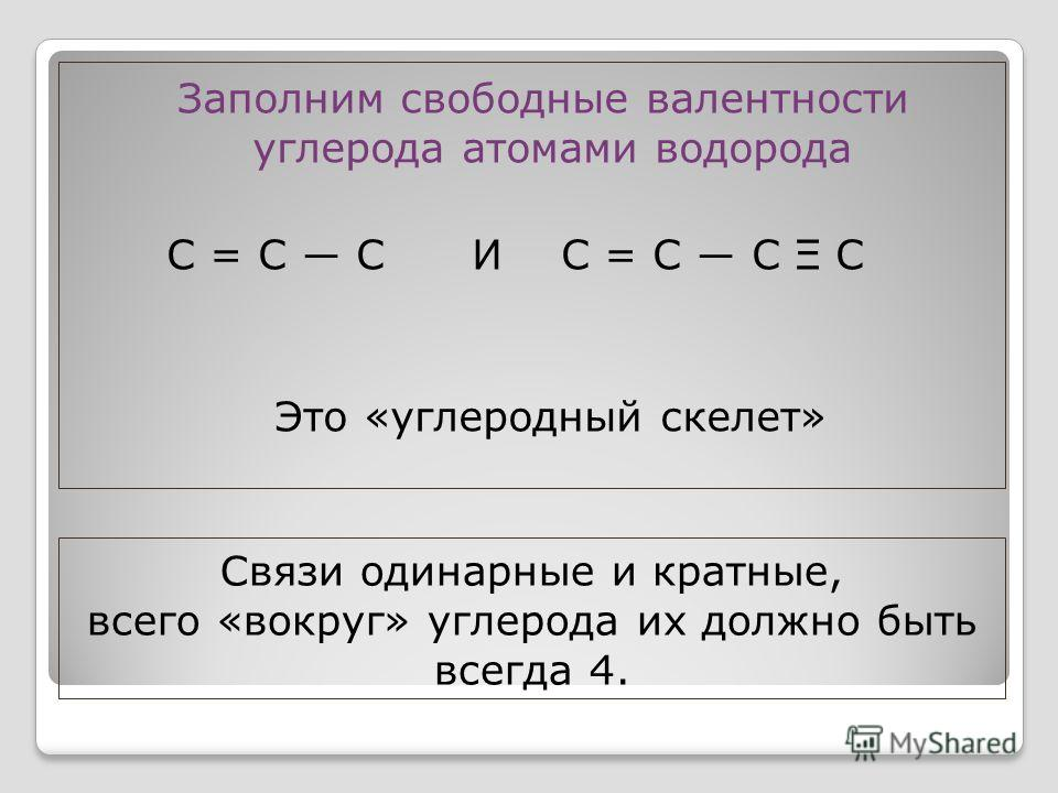Связи одинарные и кратные, всего «вокруг» углерода их должно быть всегда 4. Заполним свободные валентности углерода атомами водорода С = С С И С = С С Ξ С Это «углеродный скелет»