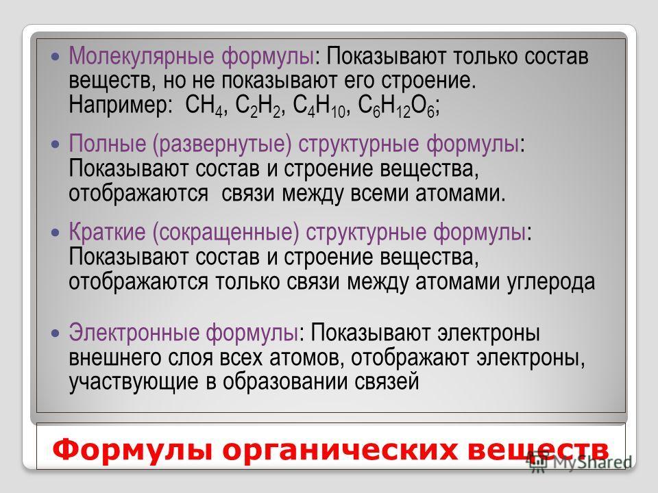 Формулы органических веществ Молекулярные формулы: Показывают только состав веществ, но не показывают его строение. Например: СН 4, С 2 Н 2, С 4 Н 10, С 6 Н 12 О 6 ; Полные (развернутые) структурные формулы: Показывают состав и строение вещества, ото