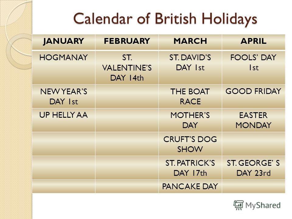 Calendar of British Holida ys JANUARYFEBRUARYMARCHAPRIL HOGMANAYST. VALENTINES DAY 14th ST. DAVIDS DAY 1st FOOLS DAY 1st NEW YEARS DAY 1st THE BOAT RACE GOOD FRIDAY UP HELLY AAMOTHERS DAY EASTER MONDAY CRUFTS DOG SHOW ST. PATRICKS DAY 17th ST. GEORGE
