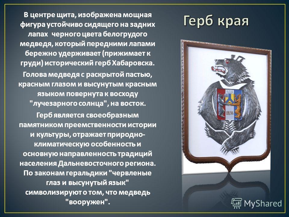 В центре щита, изображена мощная фигура устойчиво сидящего на задних лапах черного цвета белогрудого медведя, который передними лапами бережно удерживает ( прижимает к груди ) исторический герб Хабаровска. Голова медведя с раскрытой пастью, красным г