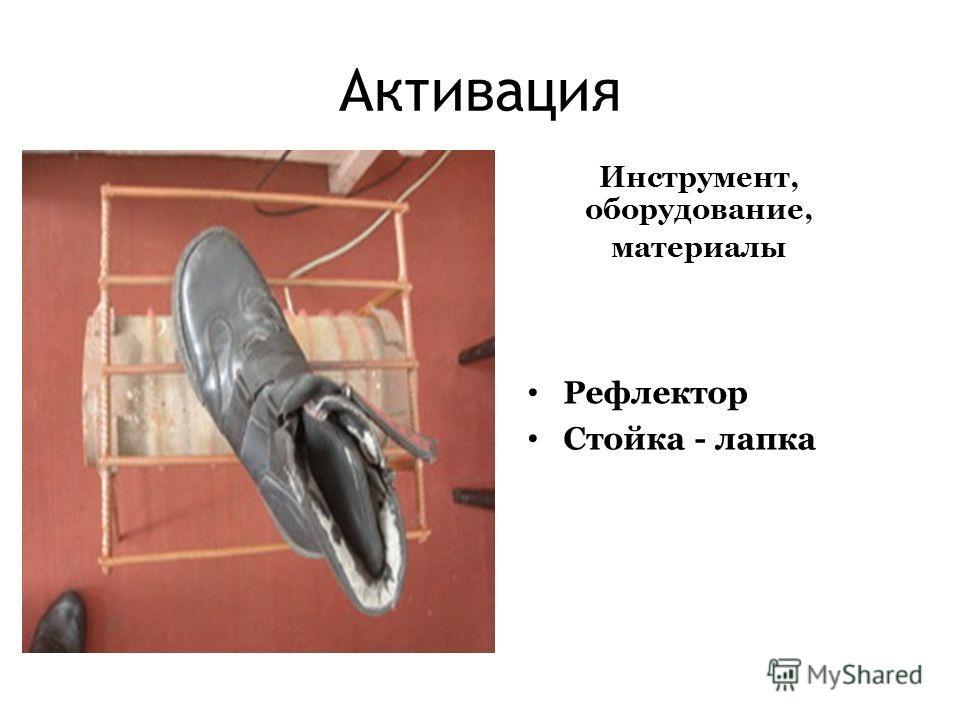 Активация Инструмент, оборудование, материалы Рефлектор Стойка - лапка