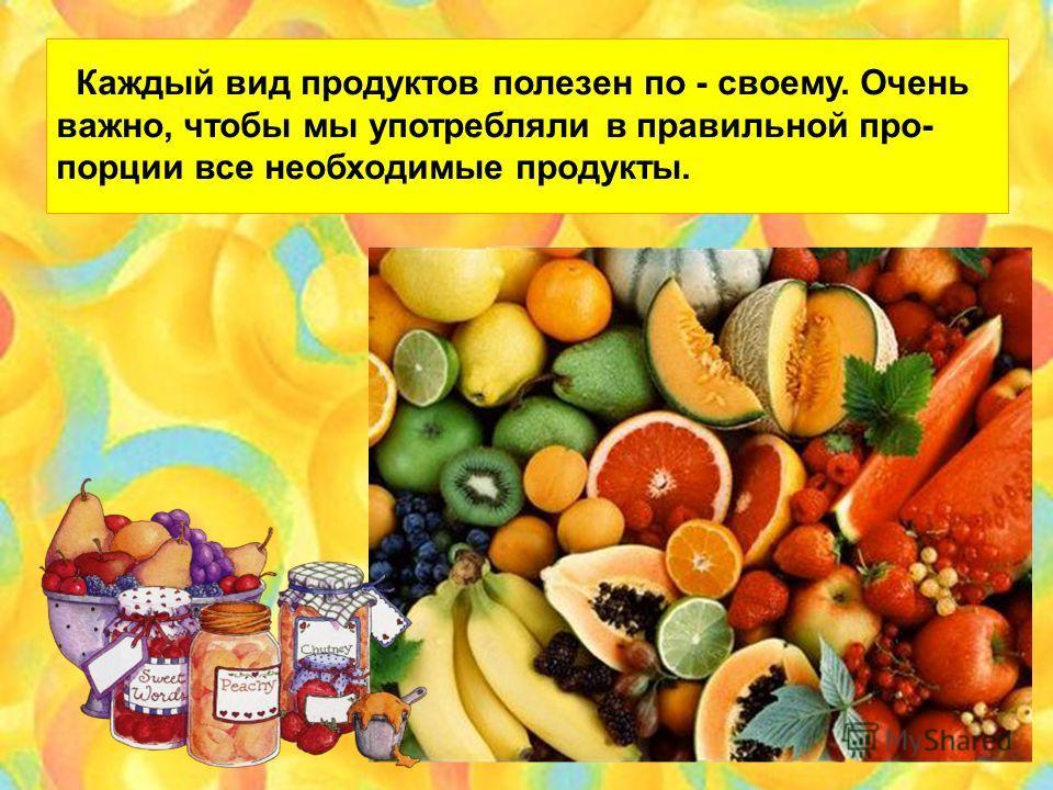 Каждый вид продуктов полезен по - своему. Очень важно, чтобы мы употребляли в правильной про- порции все необходимые продукты.