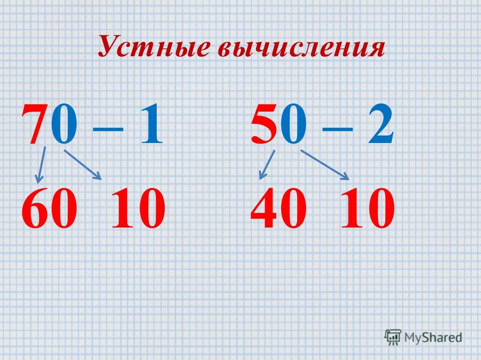 Устные вычисления 70 – 1 60 10 50 – 2 40 10