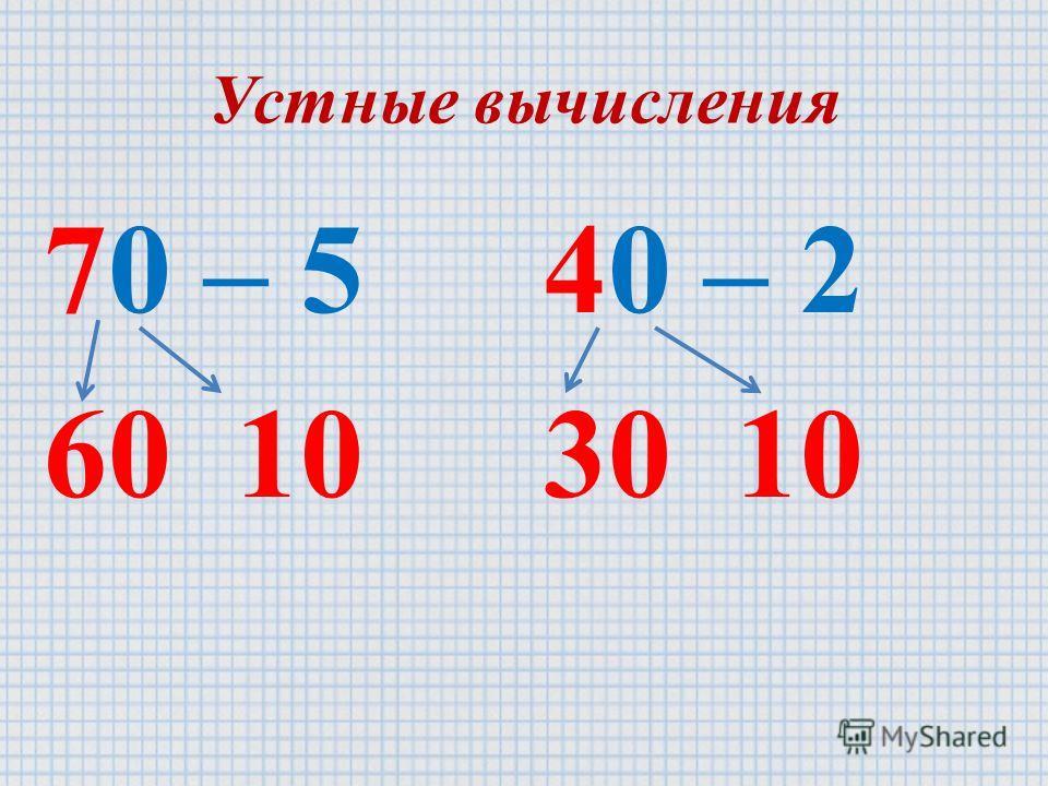 Устные вычисления 70 – 5 60 10 40 – 2 30 10