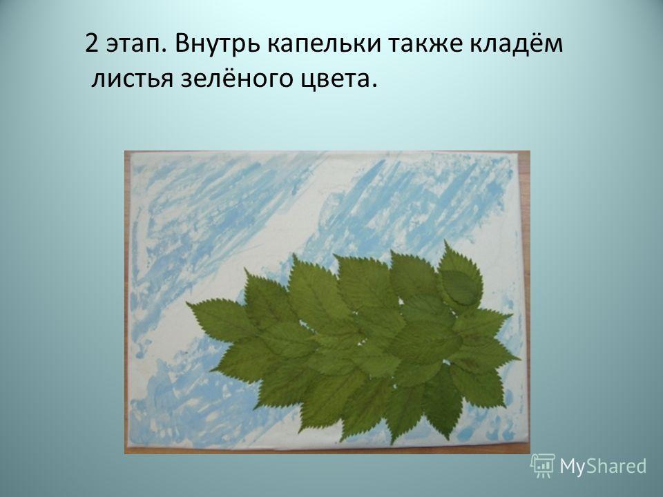 2 этап. Внутрь капельки также кладём листья зелёного цвета.