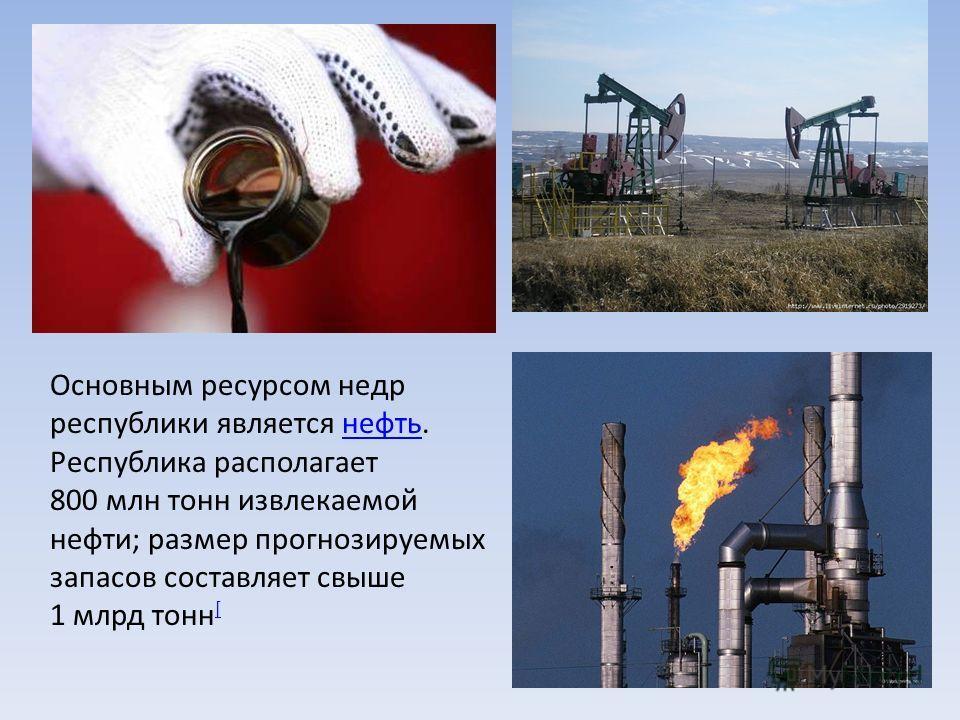 Основным ресурсом недр республики является нефть. Республика располагает 800 млн тонн извлекаемой нефти; размер прогнозируемых запасов составляет свыше 1 млрд тонн [нефть [