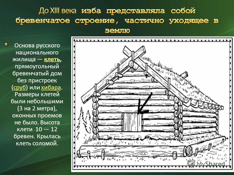 Основа русского национального жилища клеть, прямоугольный бревенчатый дом без пристроек (сруб) или хибара. Размеры клетей были небольшими (3 на 2 метра), оконных проемов не было. Высота клети 10 12 бревен. Крылась клеть соломой.клетьсрубхибара