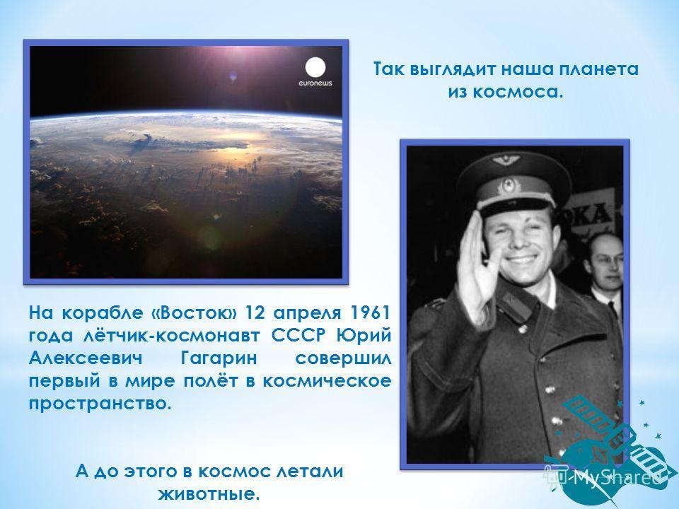 На корабле «Восток» 12 апреля 1961 года лётчик-космонавт СССР Юрий Алексеевич Гагарин совершил первый в мире полёт в космическое пространство. А до этого в космос летали животные. Так выглядит наша планета из космоса.