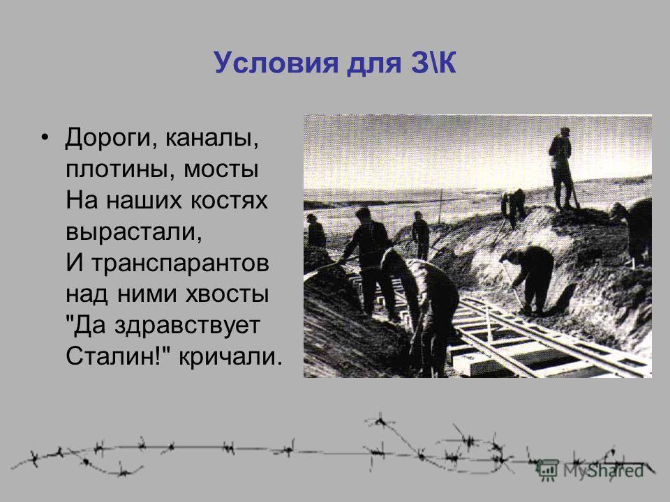 Условия для З\К Дороги, каналы, плотины, мосты На наших костях вырастали, И транспарантов над ними хвосты Да здравствует Сталин! кричали.