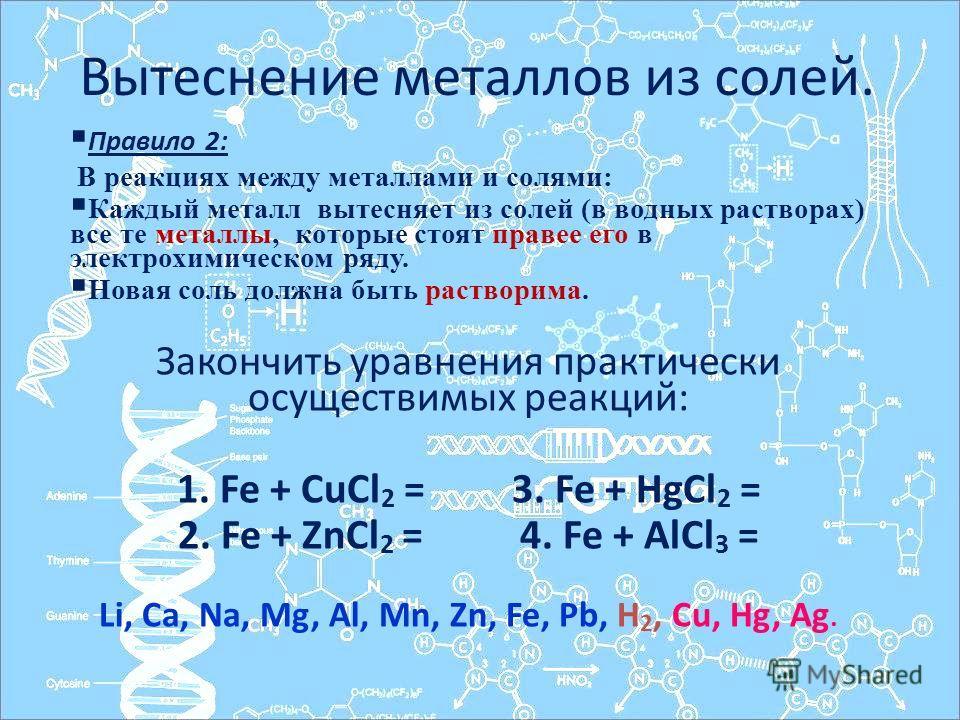 Вытеснение металлов из солей. Правило 2: В реакциях между металлами и солями: Каждый металл вытесняет из солей (в водных растворах) все те металлы, которые стоят правее его в электрохимическом ряду. Новая соль должна быть растворима. Закончить уравне