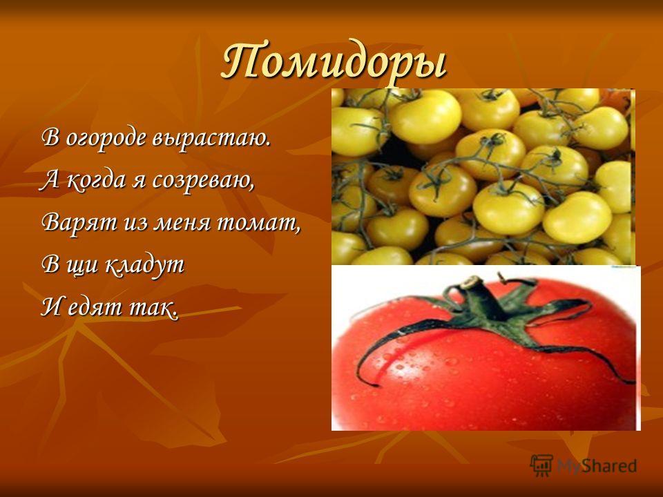 Помидоры В огороде вырастаю. А когда я созреваю, Варят из меня томат, В щи кладут И едят так. http://fotosbornik.ru/wal lpapers/4348/5. html http://fotosbornik.ru/wal lpapers/4348/5.html