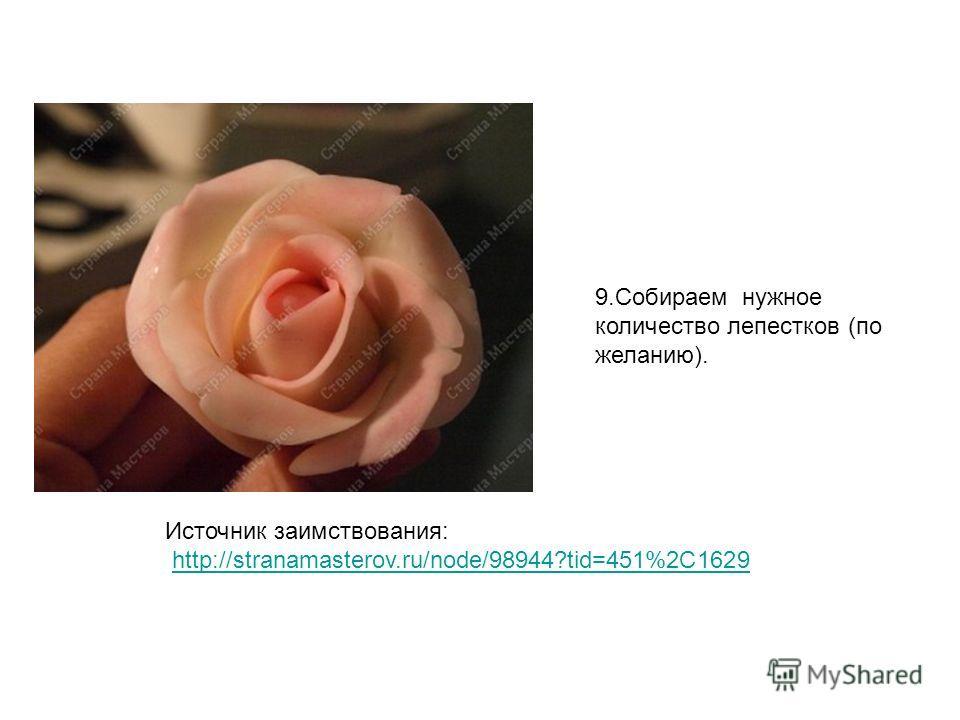 9. Собираем нужное количество лепестков (по желанию). Источник заимствования: http://stranamasterov.ru/node/98944?tid=451%2C1629