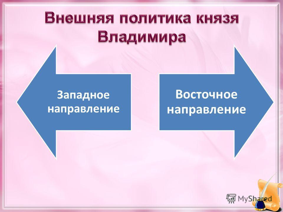 Внешняя политика князя Владимира Западное направление Восточное направление