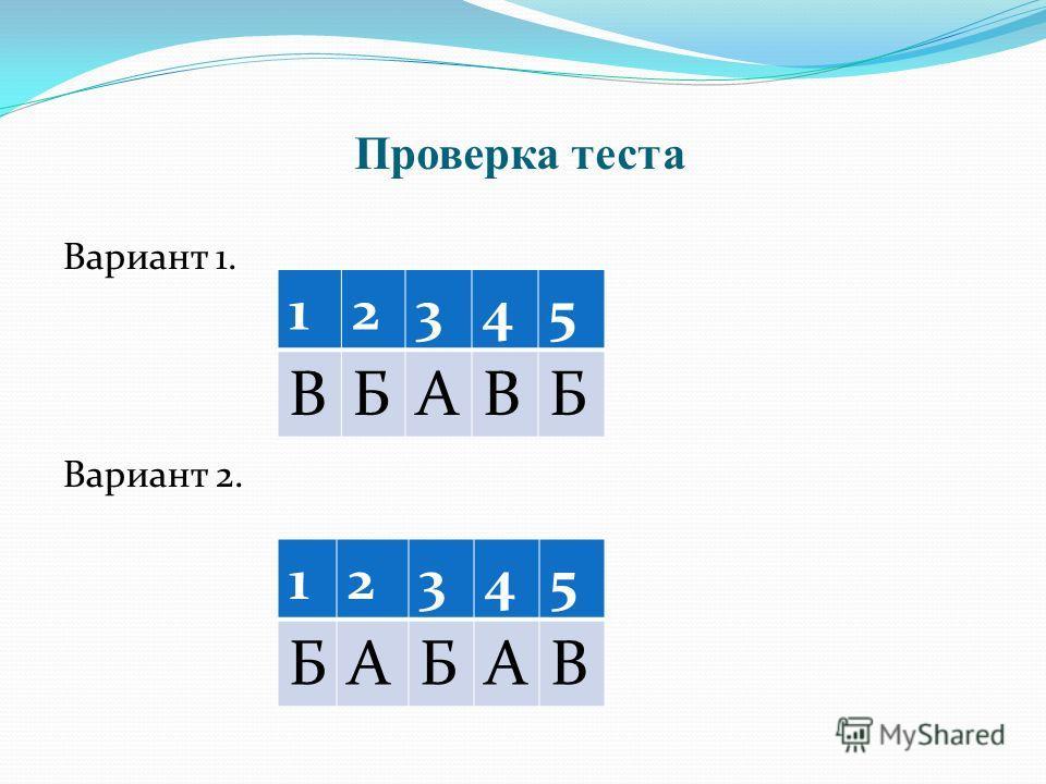 Проверка теста Вариант 1. Вариант 2. 12345 ВБАВБ 12345 БАБАВ