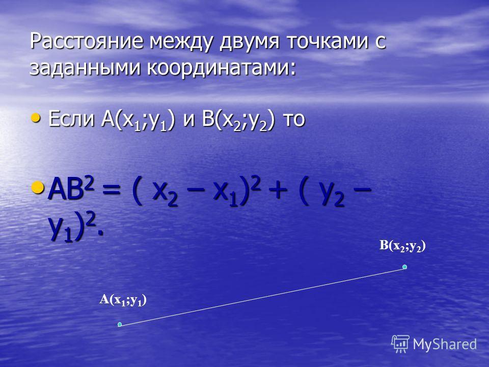 Расстояние между двумя точками с заданными координатами: Если А(х 1 ;у 1 ) и В(х 2 ;у 2 ) то Если А(х 1 ;у 1 ) и В(х 2 ;у 2 ) то АВ 2 = ( х 2 – х 1 ) 2 + ( y 2 – у 1 ) 2. АВ 2 = ( х 2 – х 1 ) 2 + ( y 2 – у 1 ) 2. А(х 1 ;у 1 ) В(х 2 ;у 2 )