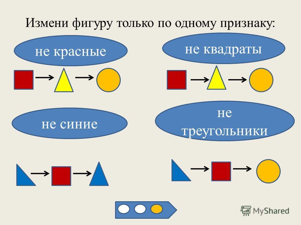 Измени фигуру только по одному признаку: не красные не квадраты не синие не треугольники