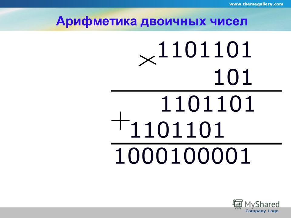 www.themegallery.com Company Logo Арифметика двоичных чисел 1101101 101 1101101 1000100001