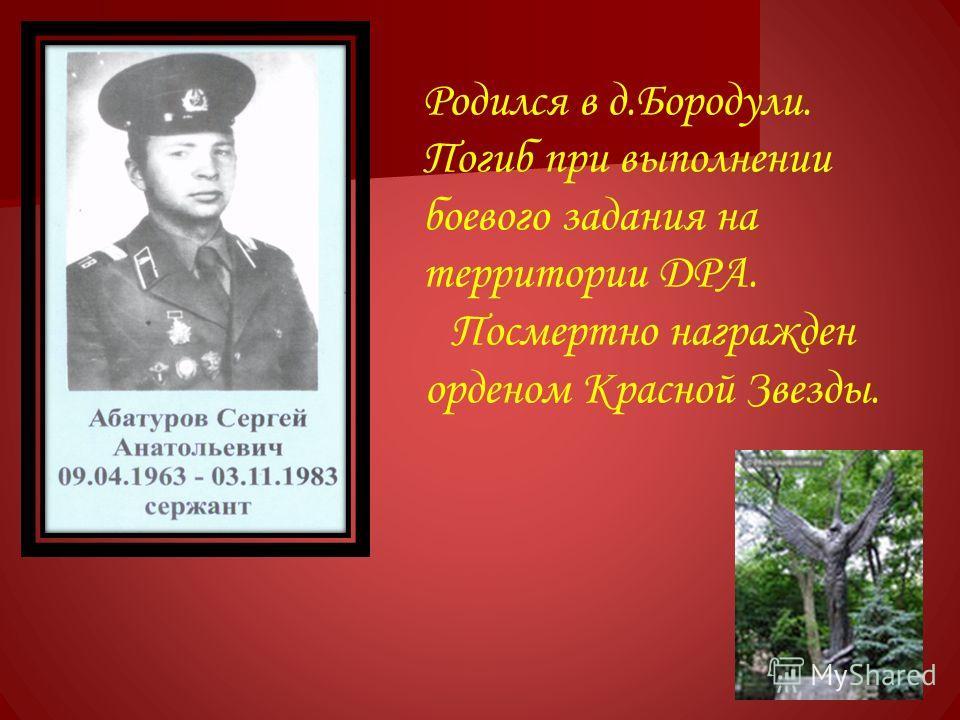 Родился в д.Бородули. Погиб при выполнении боевого задания на территории ДРА. Посмертно награжден орденом Красной Звезды.