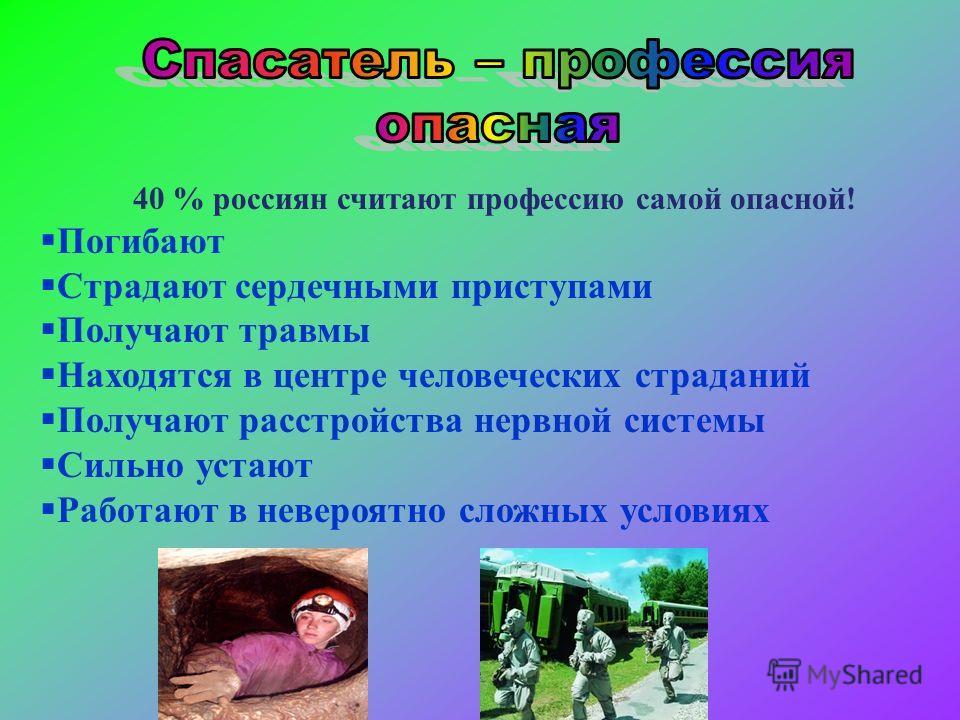 40 % россиян считают профессию самой опасной! Погибают Страдают сердечными приступами Получают травмы Находятся в центре человеческих страданий Получают расстройства нервной системы Сильно устают Работают в невероятно сложных условиях
