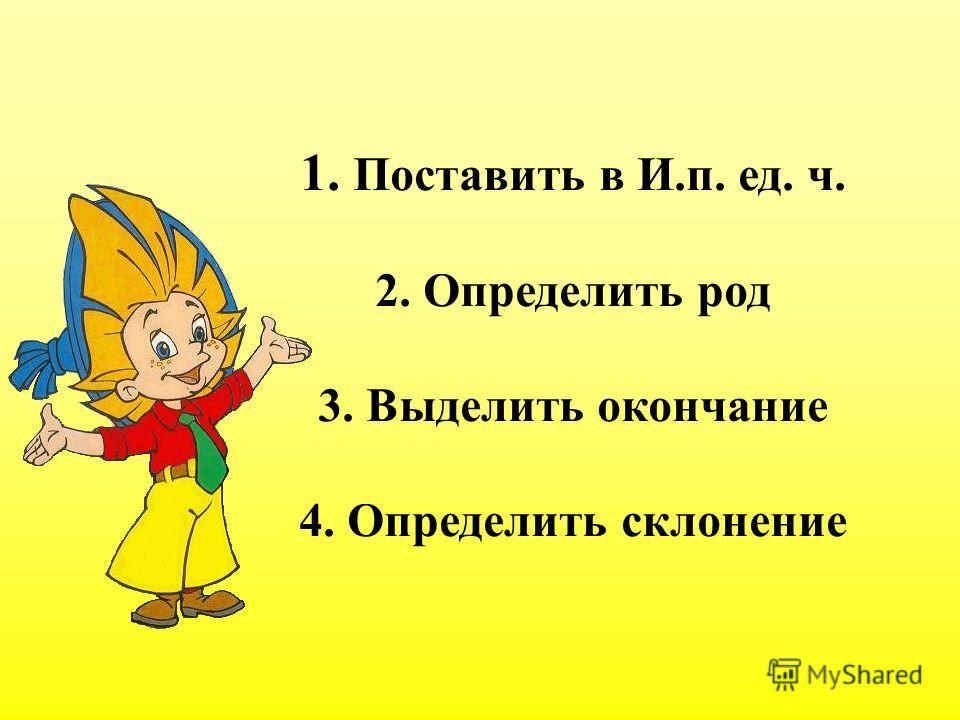 1. Поставить в И.п. ед. ч. 2. Определить род 3. Выделить окончание 4. Определить склонение
