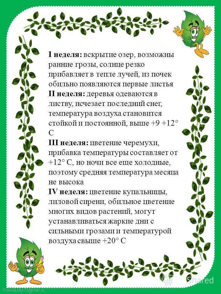 FokinaLida.75@mail.ru I неделя: вскрытие озер, возможны ранние грозы, солнце резко прибавляет в тепле лучей, из почек обильно появляются первые листья II неделя: деревья одеваются в листву, исчезает последний снег, температура воздуха становится стой