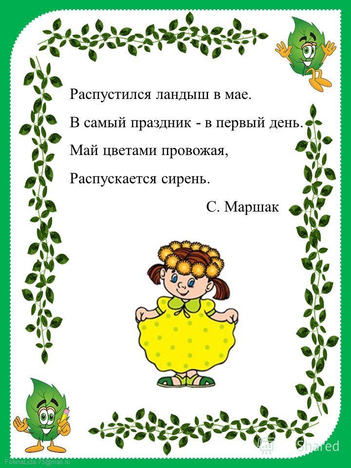 FokinaLida.75@mail.ru Распустился ландыш в мае. В самый праздник - в первый день. Май цветами провожая, Распускается сирень. С. Маршак