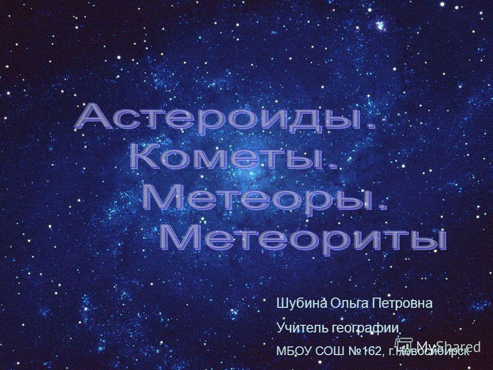 Шубина Ольга Петровна Учитель географии МБОУ СОШ 162, г.Новосибирск