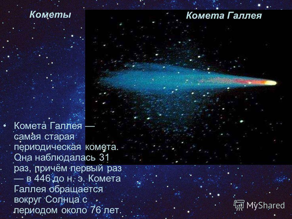 Кометы Комета Галлея Комета Галлея самая старая периодическая комета. Она наблюдалась 31 раз, причём первый раз в 446 до н. э. Комета Галлея обращается вокруг Солнца с периодом около 76 лет.
