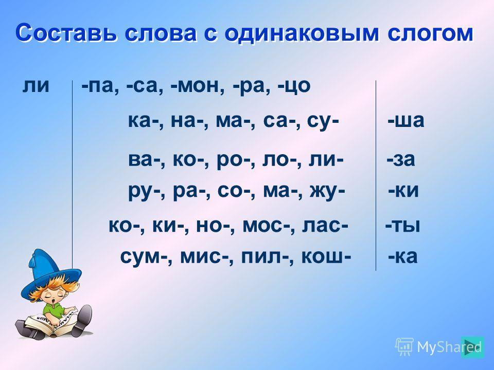 Составь слова с одинаковым слогом ли-па, -са, -мон, -ра, -цо ка-, на-, ма-, са-, су- -ша ва-, ко-, ро-, ло-, ли- -за ру-, ра-, со-, ма-, жу- -ки ко-, ки-, но-, мос-, лас- -ты сум-, мис-, пил-, кош- -ка