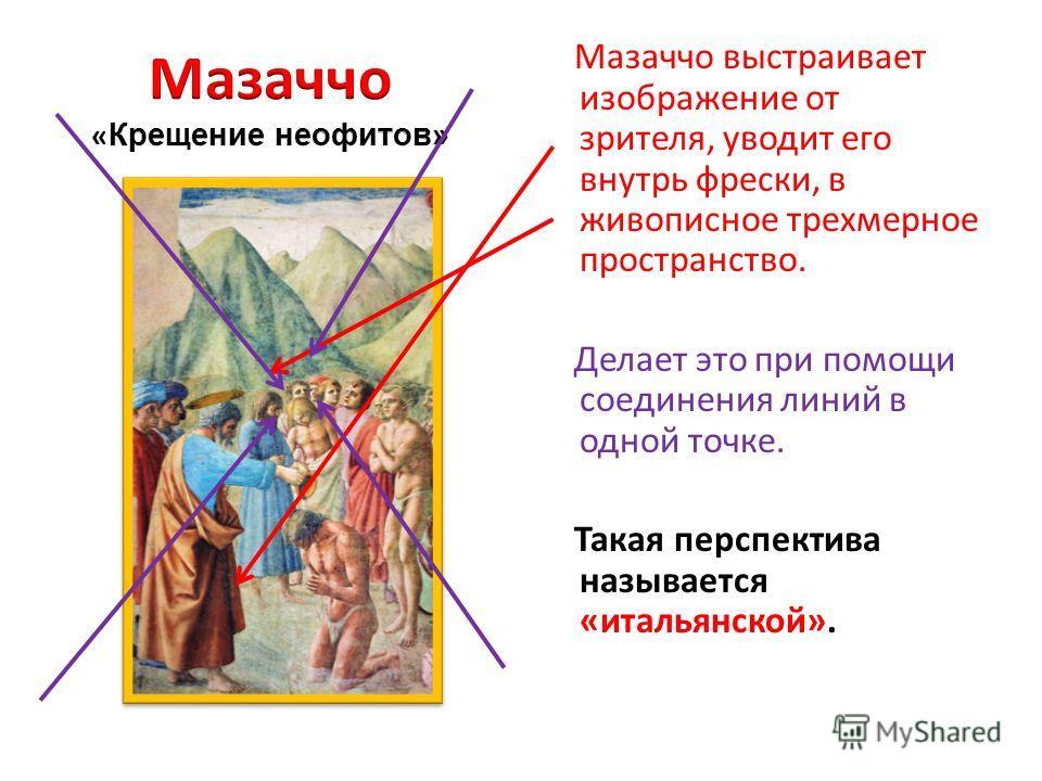 Мазаччо выстраивает изображение от зрителя, уводит его внутрь фрески, в живописное трехмерное пространство. Делает это при помощи соединения линий в одной точке. Такая перспектива называется «итальянской».