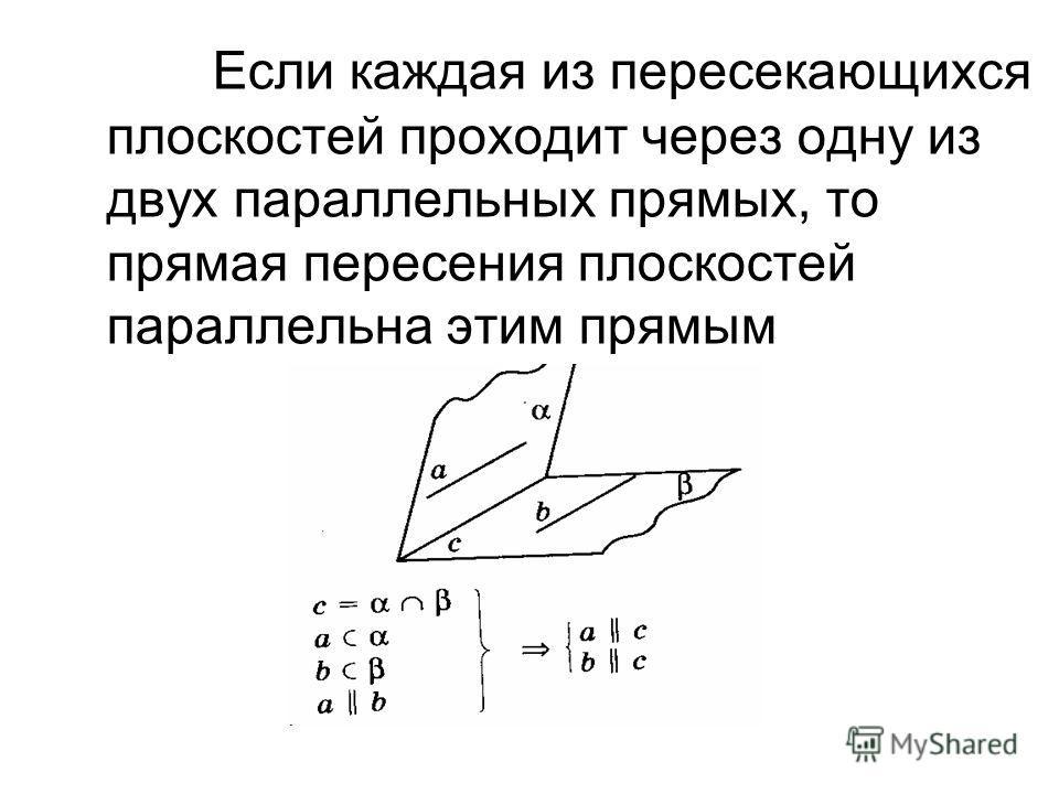 Если каждая из пересекающихся плоскостей проходит через одну из двух параллельных прямых, то прямая пересения плоскостей параллельна этим прямым
